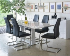 Aria High Gloss Dining Set with 6 Chairs - Colour Choices Available