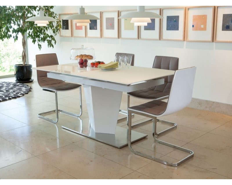 Epsom High Gloss Glass Dining Table & 4 Chairs