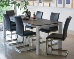 Mobo Glass & High Gloss Dining Set & 4 Chairs