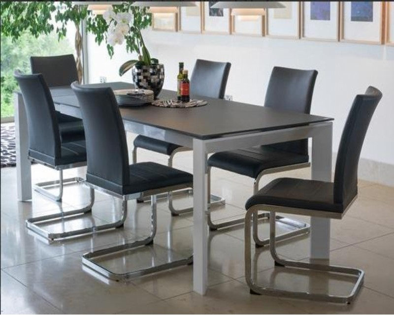 Mobo Glass & High Gloss Dining Set & 6 Chairs