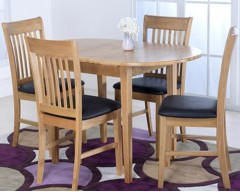 Cleo Solid Hardwood Dining Set with 4 Chairs